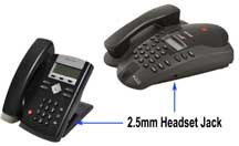 Polycom SoundPoint IP phones with 2.5mm headset jack