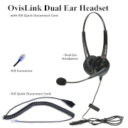 OvisLink Dual Ear headset with RJ9 quick disconnect cord