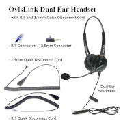 OvisLink Dual Ear headset with RJ9 and 2.5mm quick disconnect cord