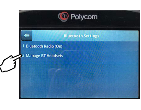 Polyco phone Bluetooth setting page