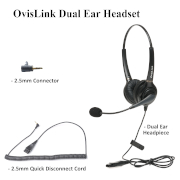 OvisLink Dual Ear headset with 2.5mm quick disconnect cord