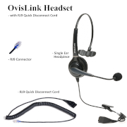 OvisLink Single Ear Headset with RJ9 Quick Disconnect Cord