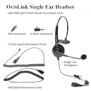 OvisLink Single Ear Headset with RJ9 and 2.5mm Quick Disconnect Cord